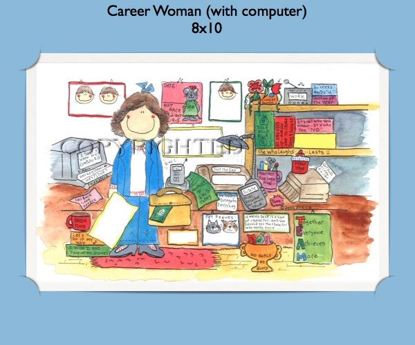 Personalized Business Gift - Career Woman with Computer Cartoon